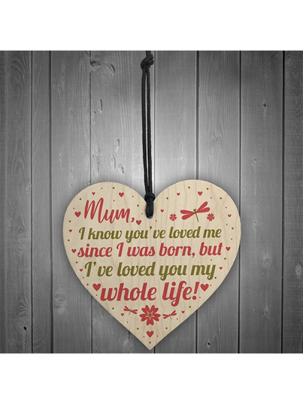 Mummy Mum Gifts For Daughter And Son Wood Heart Birthday Gifts