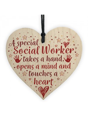 Social Worker Gift THANK YOU Wood Heart Birthday Christmas Gift