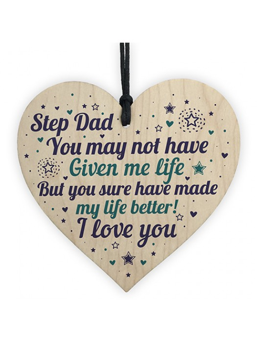 Stepdad Gifts From Daughter Son Wood Heart Stepdad Birthday