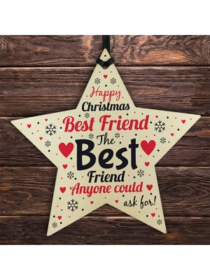 Christmas Gift For Best Friend Wooden Star Christmas Tree Bauble