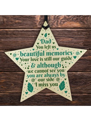 Dad Memorial Christmas Tree Decorations Wood Star Remembrance