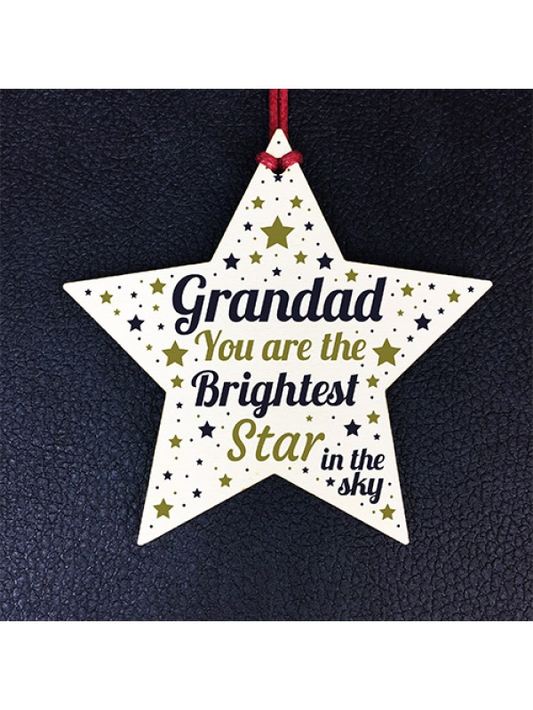 Christmas Tree Bauble Grave Memorial Ornament For Grandad Star