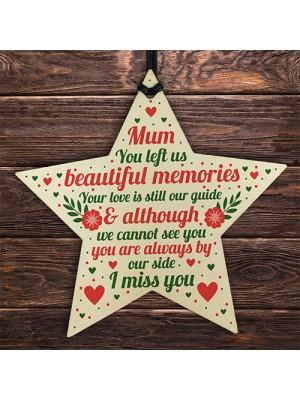 Mum Memorial Christmas Tree Decorations Wood Star Remembrance