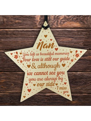 Nan Memorial Christmas Tree Decorations Wood Star Remembrance