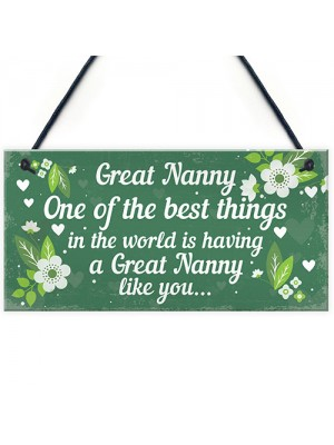Great Nanny Plaque Sign Grandparent Gifts From Grandchildren