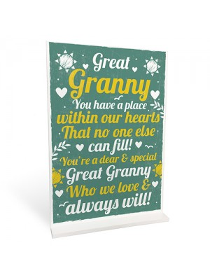 GREAT GRANNY Gifts For Birthday Christmas Standing Plaque
