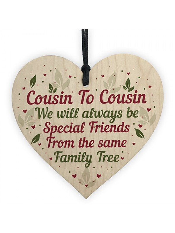 Cousin Family Gifts Christmas Birthday Gift For Wood Hear