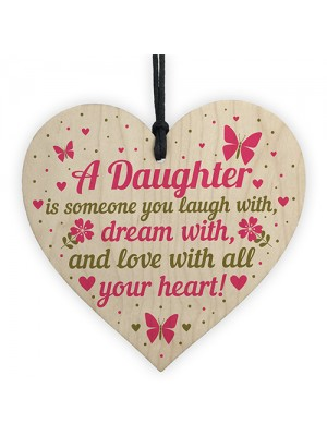 Daughter Birthday Christmas Card Gifts Wooden Heart From Mum