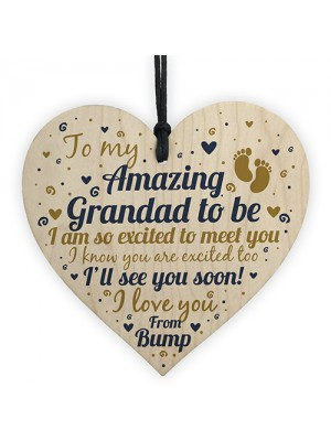 Grandad To Be Heart Baby Announcement For Dad New Baby Gifts