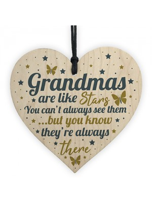 Grandma Gifts For Christmas Birthday Wood Heart Plaque Keepsake