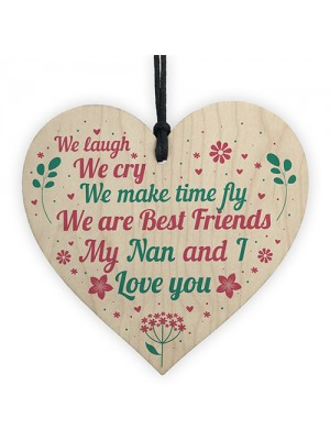 Nan Nanny Card Gifts For Birthday Christmas Wood Heart THANK YOU