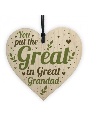 Great Grandad Birthday Christmas Card Gifts Wooden Heart Gift