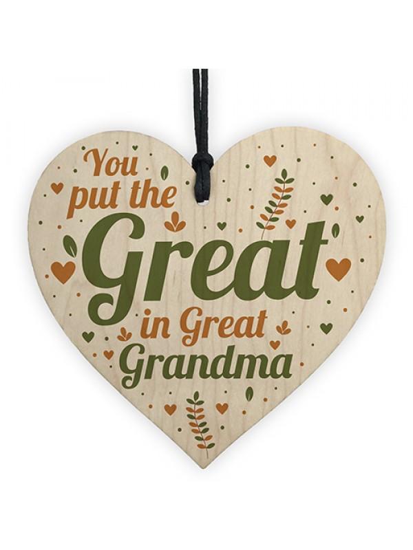 Great Grandma Birthday Christmas Card Gifts Wooden Heart Gift