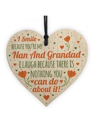 Nan and Grandad Birthday Christmas Card Gift Wood Heart Bauble