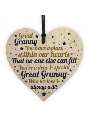 THANK YOU Love Great Granny Wooden Heart Gift Birthday Xmas
