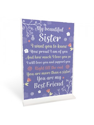 SISTER GIFT For Birthday Christmas Standing Plaque Thank You