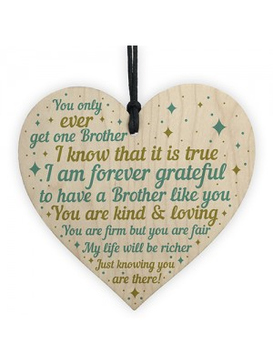 Brother Gifts For Christmas Birthday Wooden Heart Plaque Gifts
