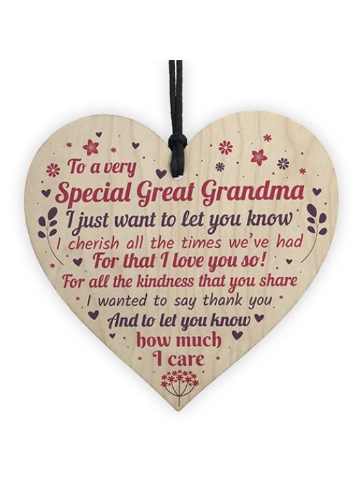 Great Grandma Grandad Christmas Gifts Handmade Wooden Heart Sign