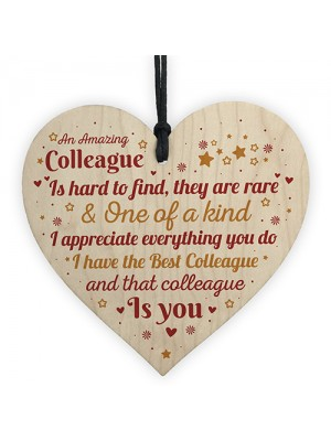 Colleague Leaving Gifts Thank You Gift Plaque Wooden Heart Sign