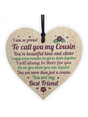 Cousin Christmas Gift Wooden Heart Plaque Cousin Gifts For Girls