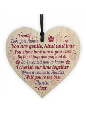 Auntie Christmas Gifts Wood Heart Thank You Sister Gift Niece