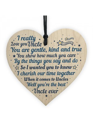 Uncle Christmas Gifts Cards Wooden Heart Uncle Gift For Birthday