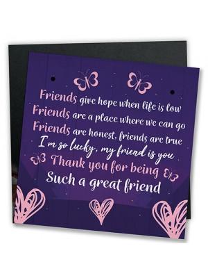 Friendship Keepsake Plaque Best Friend Gifts Thank You Birthday