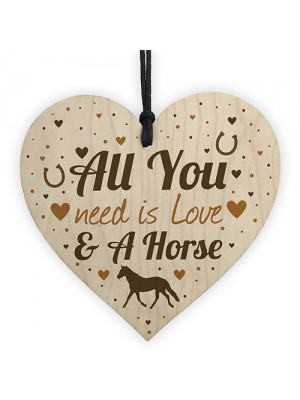 Horse Gifts For Girls Women Wooden Heart Stable Door Plaque