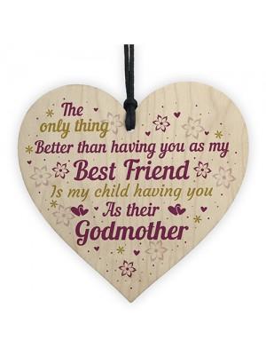 Best Friend Godmother Gifts Wooden Heart Plaque Thank You Friend
