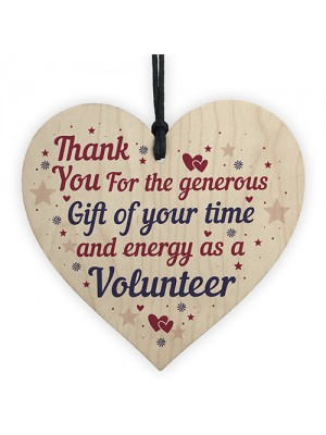 Thank You Gift For Volunteer Colleague Wooden Heart Plaque