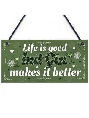 Gin Gift For Women Kitchen Home Plaque Funny Best Friend Gift
