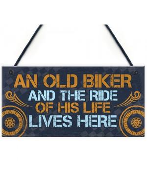 Grumpy Old Biker Gift Sign Funny Birthday Christmas Dad Grandad