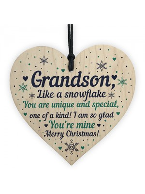 Grandson Christmas Ornament Bauble Wooden Heart Keepsake Gift