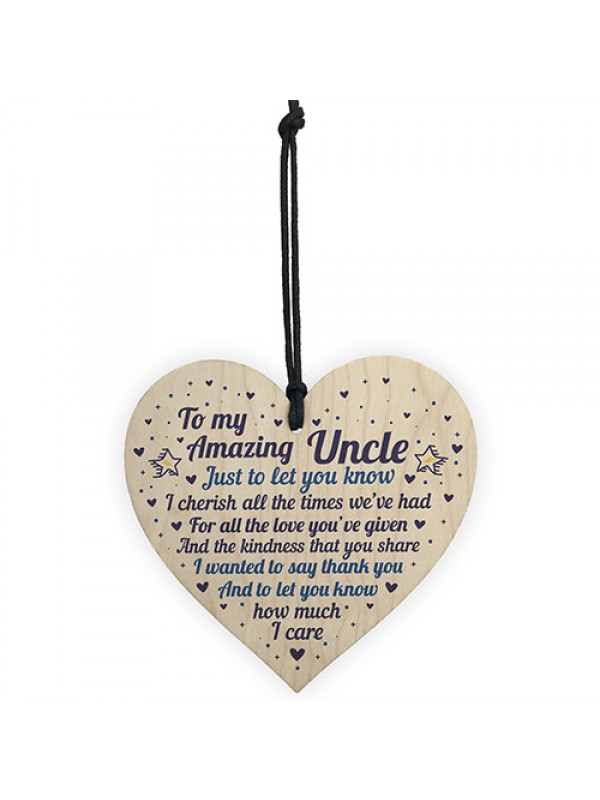 Amazing Uncle Gift For Birthday Christmas Wooden Heart Thank You