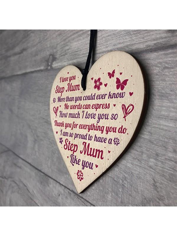 Mum Gifts Stepmum Present Heart Keepsake Plaque Birthday Xmas