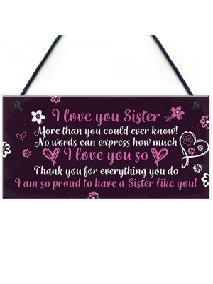 Birthday Christmas Gifts For Sister Keepsake Plaque THANK YOU