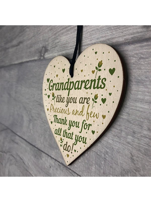 Grandparent Gift Keepsake Wooden Heart Birthday Christmas Gift