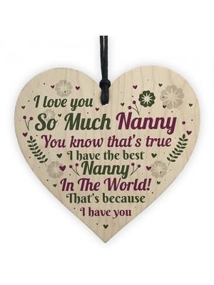Thank You NANNY Gift For Birthday Christmas Wood Heart Keepsake