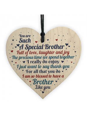 Brother Gift From Sister Handmade Wood Heart Birthday Thank You