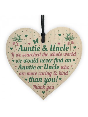Auntie And Uncle Gifts For Birthday Christmas Wood Heart Gift