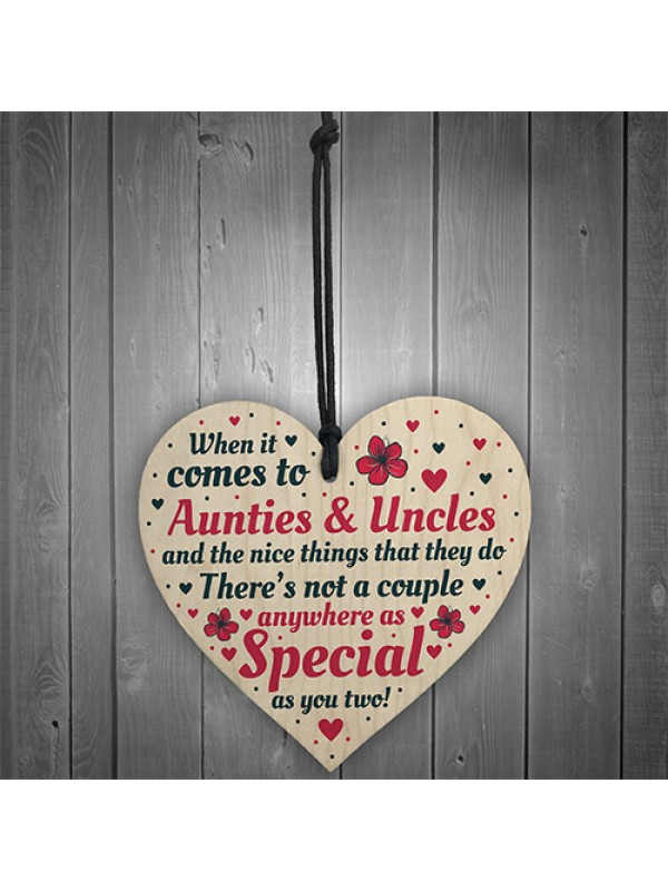 Handmade Gift For Auntie and Uncle Hanging Wooden Heart Birthday