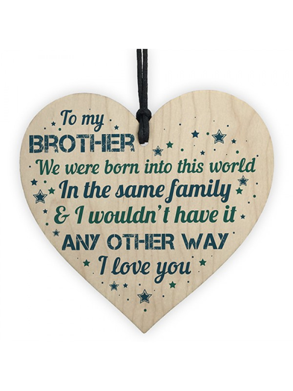 Handmade Brother Birthday Gifts From Sister Family Wooden Heart