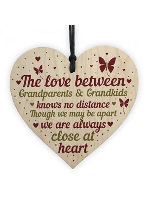 Nan And Grandad Gift Home Wooden Hanging Heart Plaque Keepsake