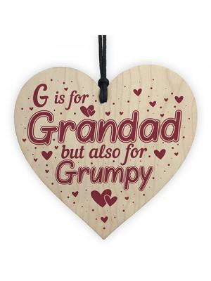 Funny Gift For Grandad Wooden Heart Sign Birthday Christmas Gift