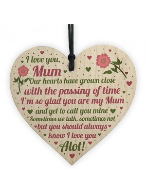 Gifts For Mum Mummy Wood Heart Plaque Birthday Christmas Gift