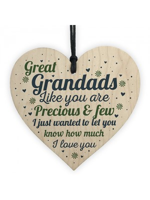 Great Grandad Card Birthday Christmas Gift Wooden Heart Ornament