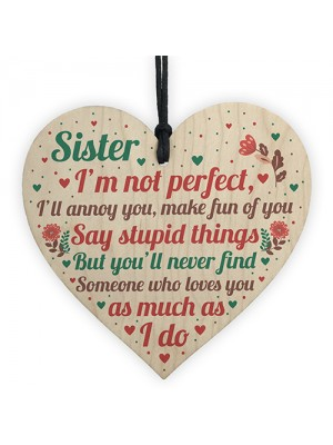 Funny Sister Birthday Christmas Card Gifts Wood Heart Friendship