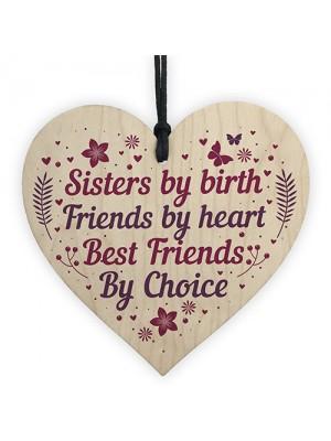 Handmade Sister Friendship Gift For Birthday Wooden Heart Sister