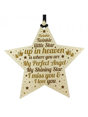 Mum Dad Nan Grandad Friend MEMORIAL Plaque Wood Star Keepsake