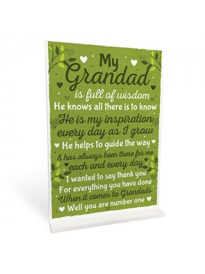 Thank You Christmas Birthday Gifts For Grandad Standing Sign